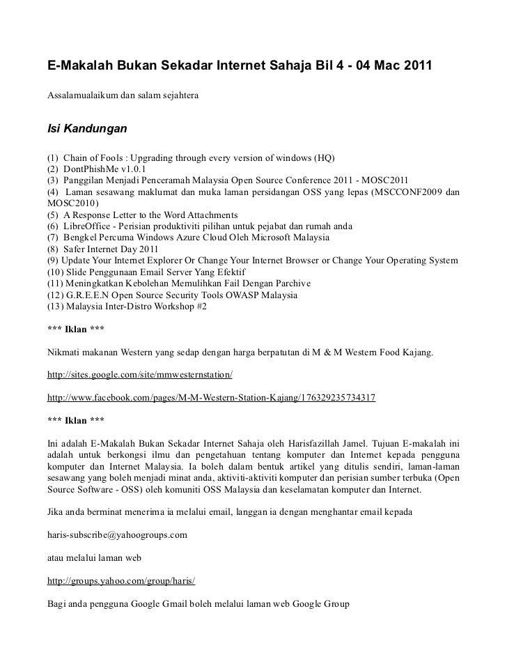 E-Makalah Bukan Sekadar Internet Sahaja Bil 4 - 04 Mac 2011Assalamualaikum dan salam sejahteraIsi Kandungan(1) Chain of Fo...