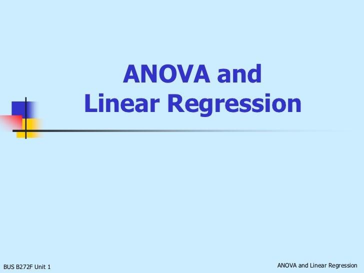 ANOVA andLinear Regression<br />