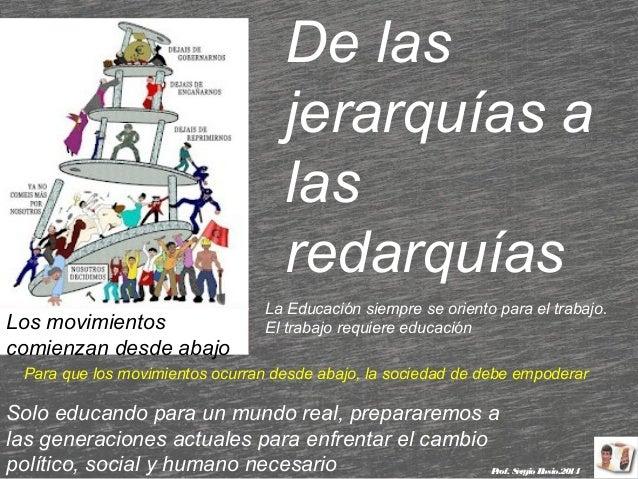 De las jerarquías a las redarquías Los movimientos comienzan desde abajo  La Educación siempre se oriento para el trabajo....