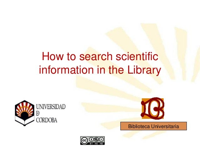 How to search scientific information in the Library  Biblioteca Universitaria