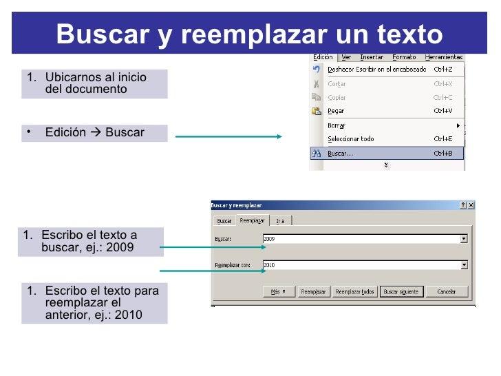 buscar y reemplazar un texto