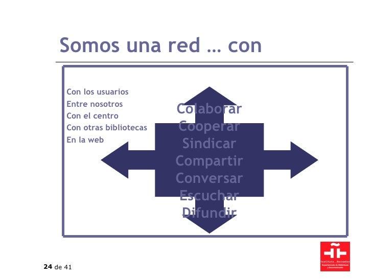 Somos una red … con Colaborar Cooperar Sindicar Compartir Conversar Escuchar Difundir Con los usuarios Entre nosotros Con ...
