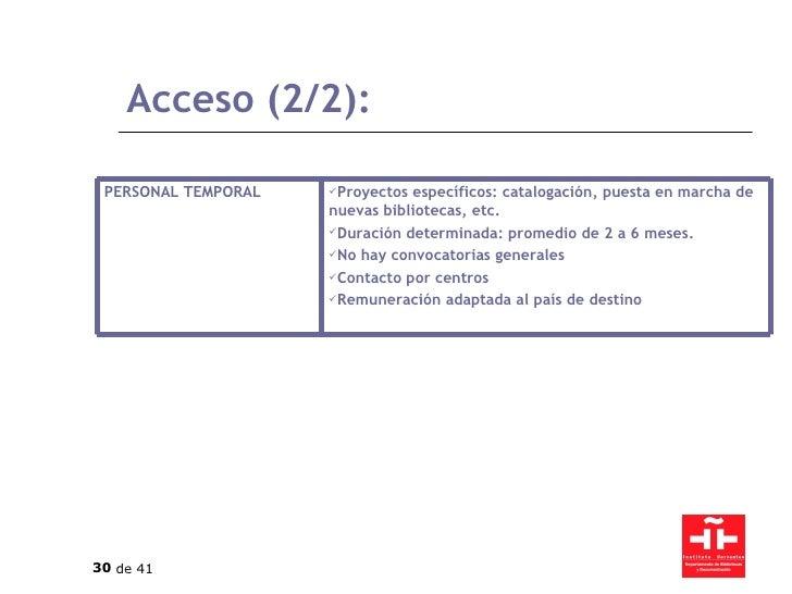Acceso (2/2): <ul><li>Proyectos específicos: catalogación, puesta en marcha de nuevas bibliotecas, etc. </li></ul><ul><li>...