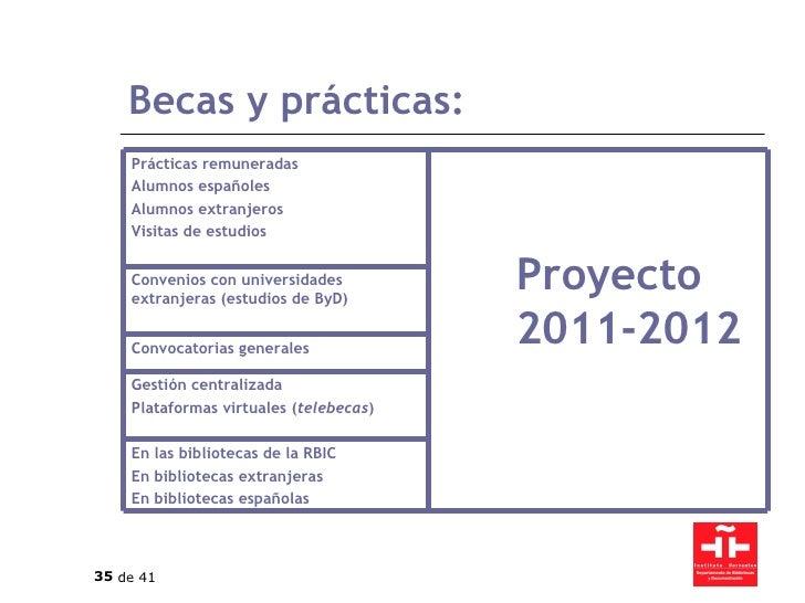 Becas y prácticas: En las bibliotecas de la RBIC En bibliotecas extranjeras En bibliotecas españolas Gestión centralizada ...