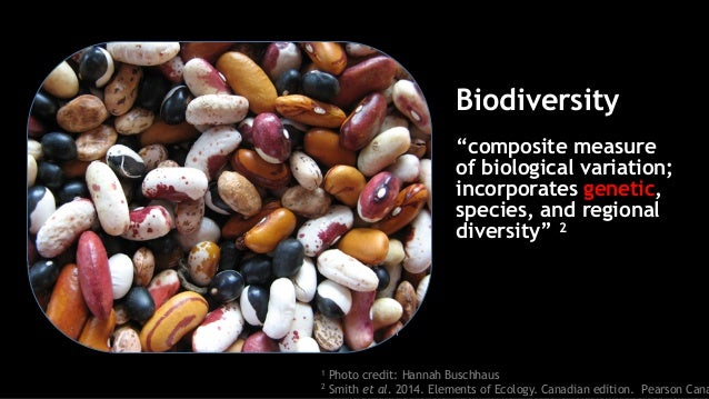 """1 Photo credit: Hannah Buschhaus 2 Smith et al. 2014. Elements of Ecology. Canadian edition. Pearson Cana Biodiversity """"co..."""