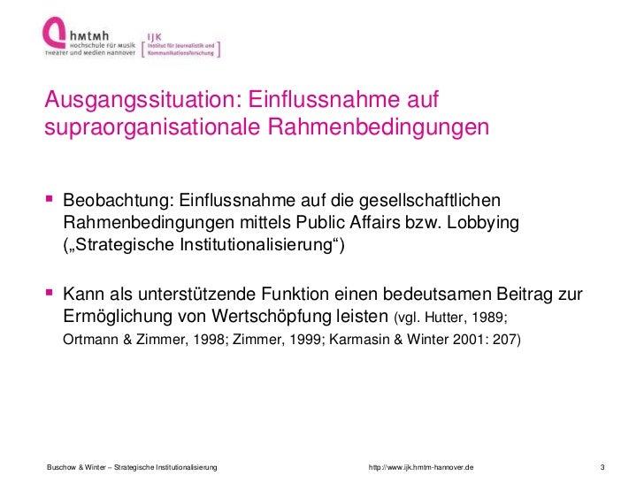 Ausgangssituation: Einflussnahme aufsupraorganisationale Rahmenbedingungen Beobachtung: Einflussnahme auf die gesellschaf...