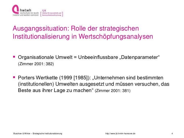 Ausgangssituation: Rolle der strategischenInstitutionalisierung in Wertschöpfungsanalysen Organisationale Umwelt = Unbeei...