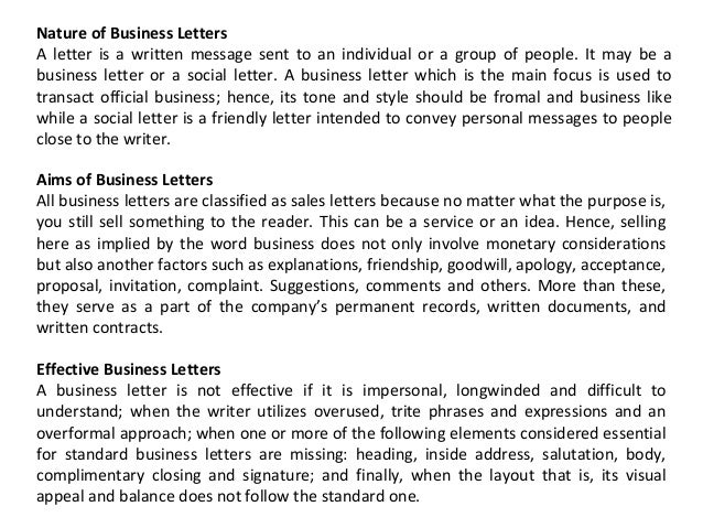 standard business letters