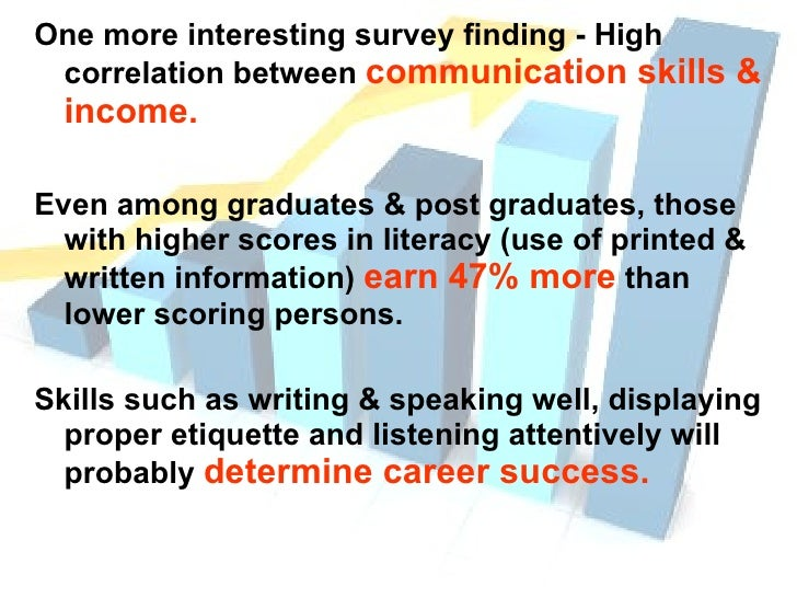 <ul><li>One more interesting survey finding - High correlation between  communication skills & income. </li></ul><ul><li>E...