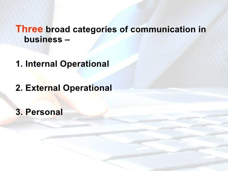 <ul><li>Three  broad categories of communication in business –  </li></ul><ul><li>1. Internal Operational  </li></ul><ul><...