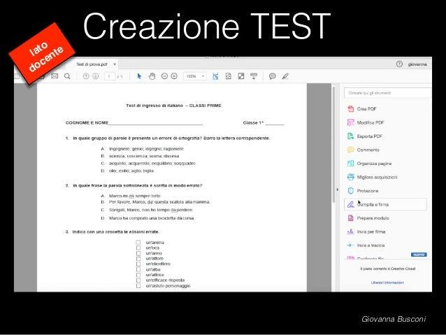 Creazione TEST lato docente Giovanna Busconi