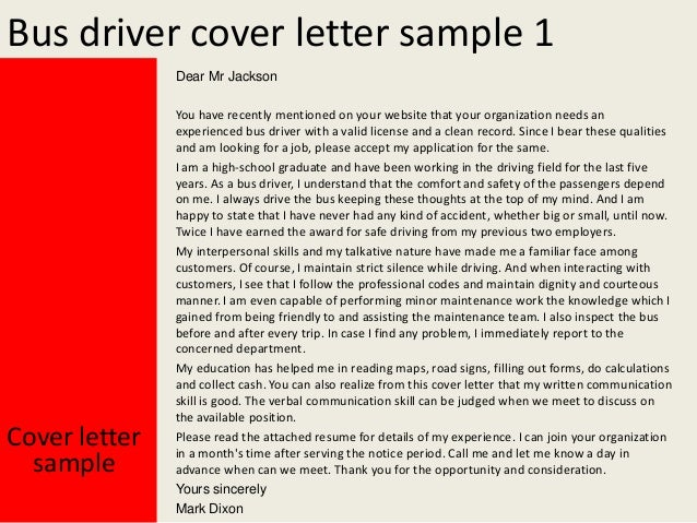 Cover Letter For Bus Driver