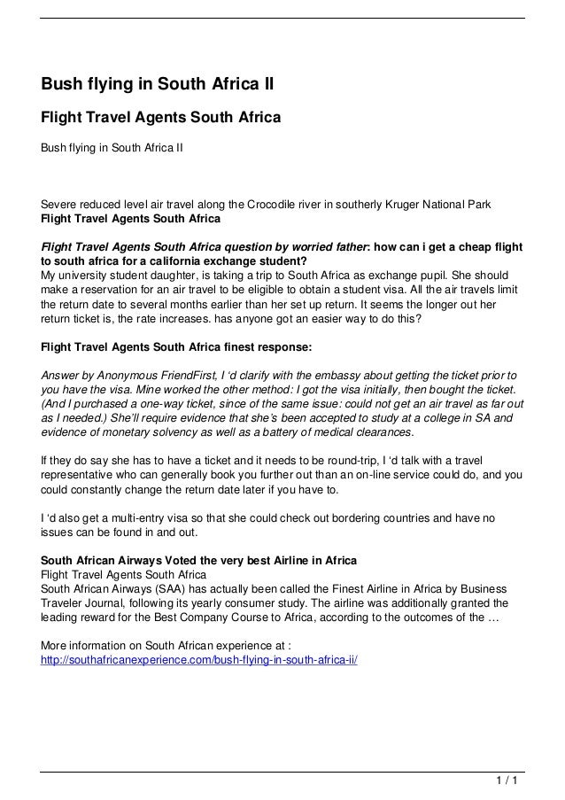 Bush flying in South Africa II                                   Flight Travel Agents South Africa                        ...