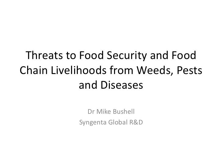 Threats to Food Security and FoodChain Livelihoods from Weeds, Pests            and Diseases             Dr Mike Bushell  ...