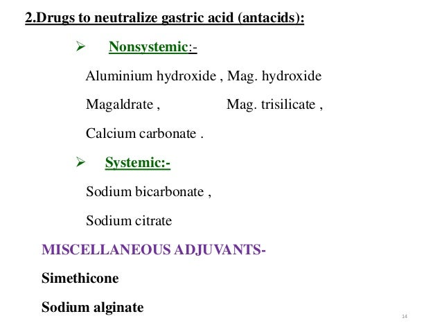 2.Drugs to neutralize gastric acid (antacids):   Nonsystemic:-  Aluminium hydroxide , Mag. hydroxide  Magaldrate , Mag. t...