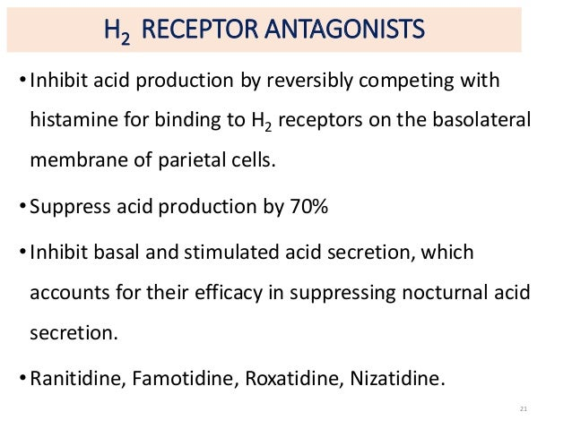 H2 RECEPTOR ANTAGONISTS  • Inhibit acid production by reversibly competing with  histamine for binding to H2 receptors on ...