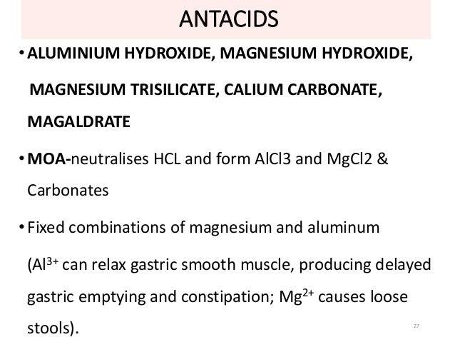 ANTACIDS  • ALUMINIUM HYDROXIDE, MAGNESIUM HYDROXIDE,  MAGNESIUM TRISILICATE, CALIUM CARBONATE,  MAGALDRATE  •MOA-neutrali...