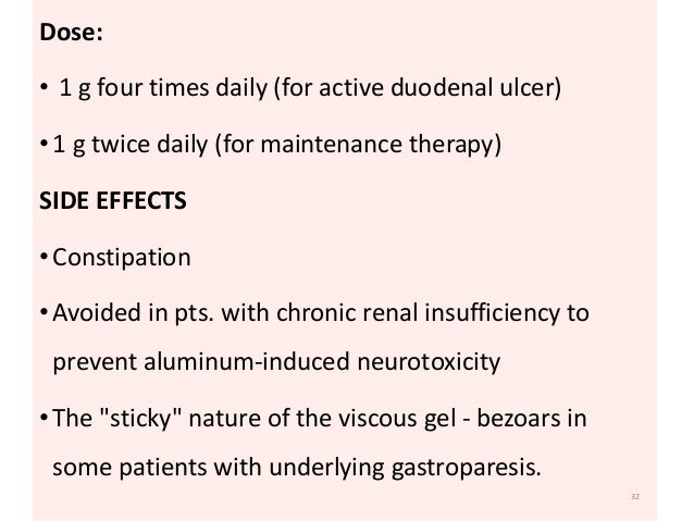 Dose:  • 1 g four times daily (for active duodenal ulcer)  • 1 g twice daily (for maintenance therapy)  SIDE EFFECTS  • Co...