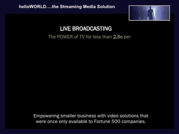 helloWORLD/VMDirect Streaming Media Business Presentation
