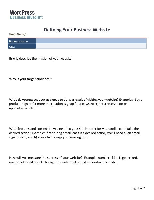 Business blueprint-worksheet-define