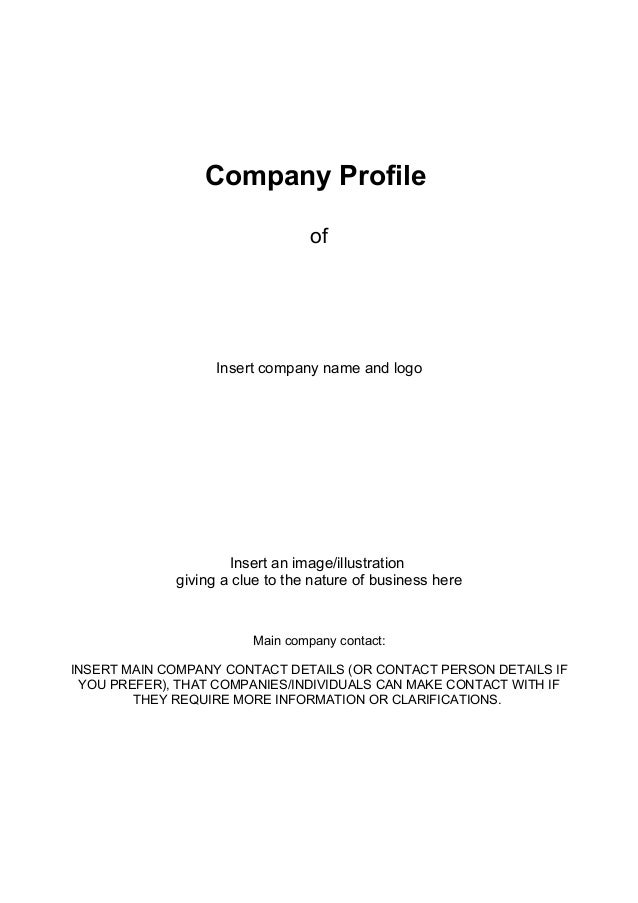 Company Profile Of Insert Company Name And Logo Insert An  Image/illustration Giving A Clue ...  Format Of Company Profile