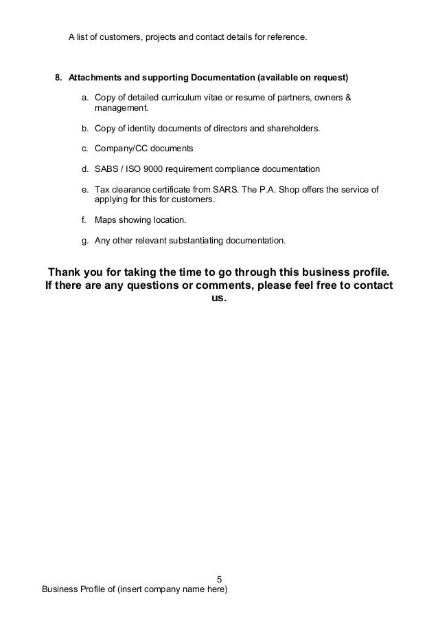 sample company profile template doc
