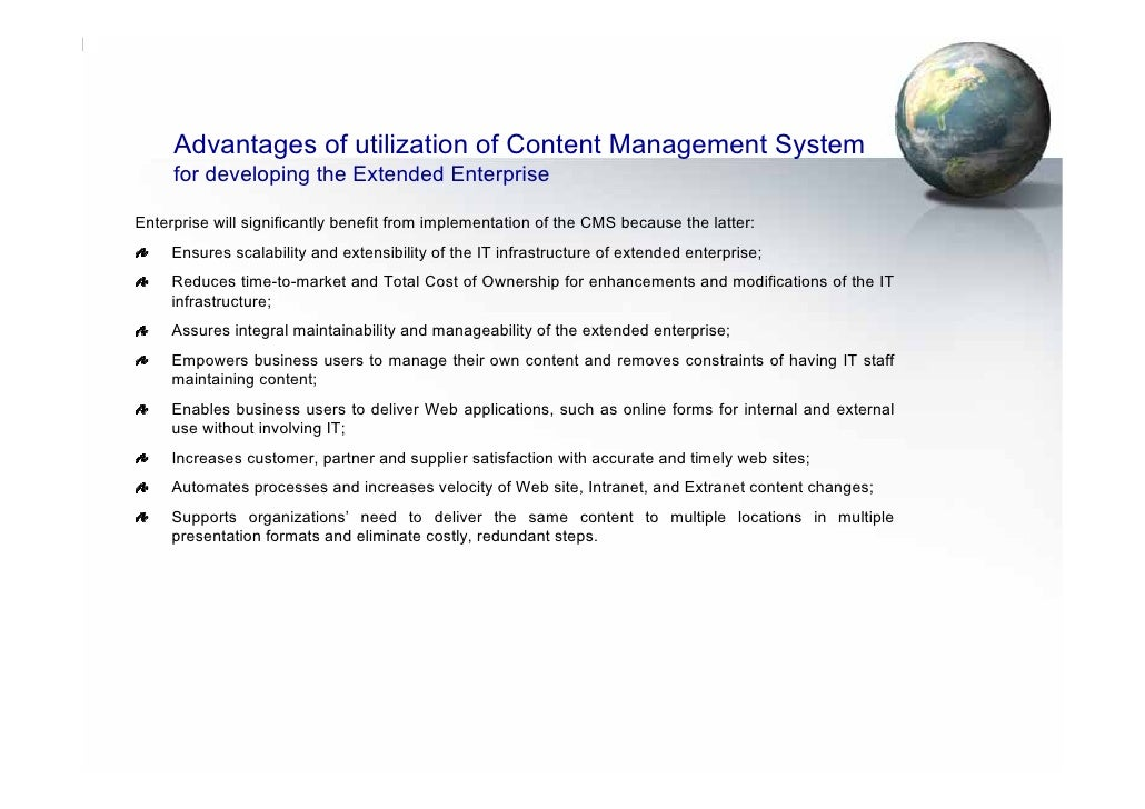 Advantages of utilization of Content Management System      for developing the Extended Enterprise  Enterprise will signif...