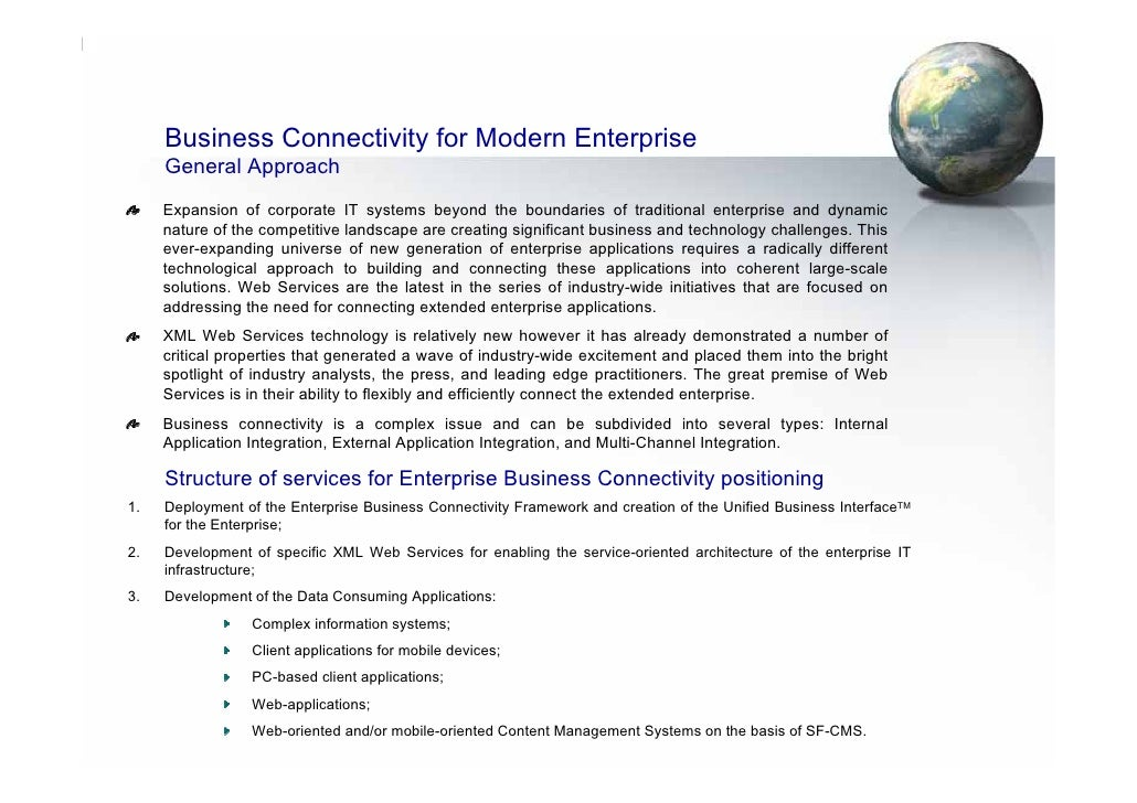 Business Connectivity for Modern Enterprise      General Approach      Expansion of corporate IT systems beyond the bounda...