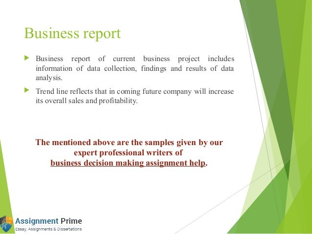 sample of business decision making assignment