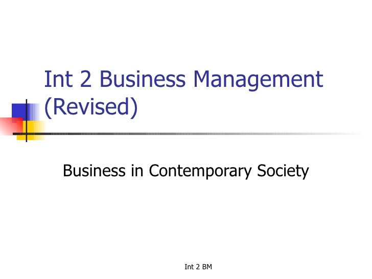 Int 2 Business Management (Revised) Business in Contemporary Society