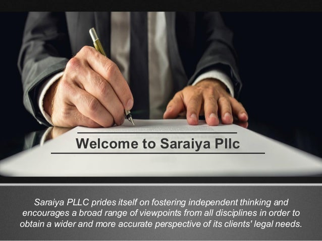 Saraiya PLLC prides itself on fostering independent thinking and encourages a broad range of viewpoints from all disciplin...