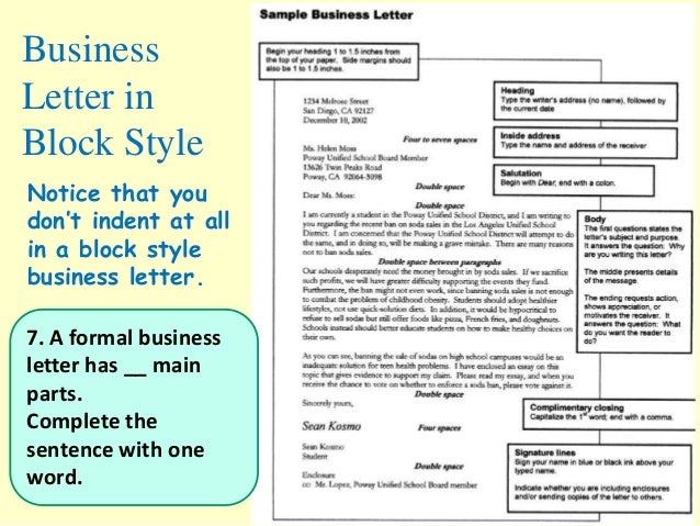 business letter - Main Parts Of Business Letter