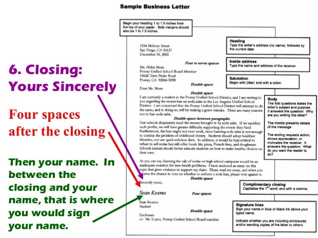 how to sign a business letter
