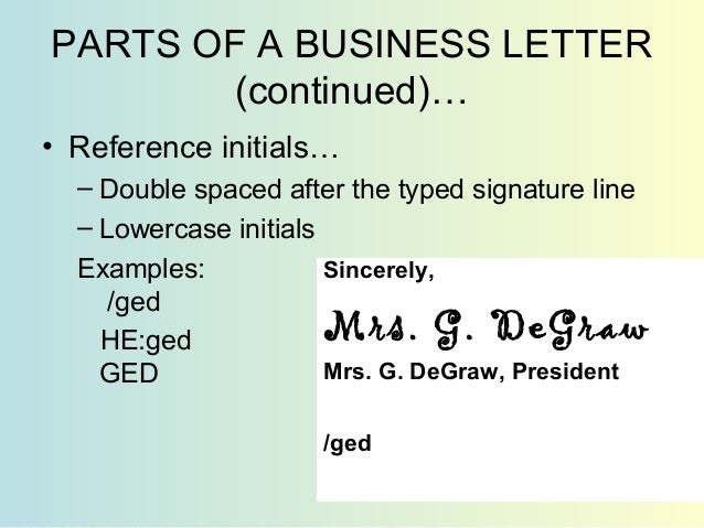 13 R E V I W O PARTS OF A PERSONAL BUSINESS LETTER