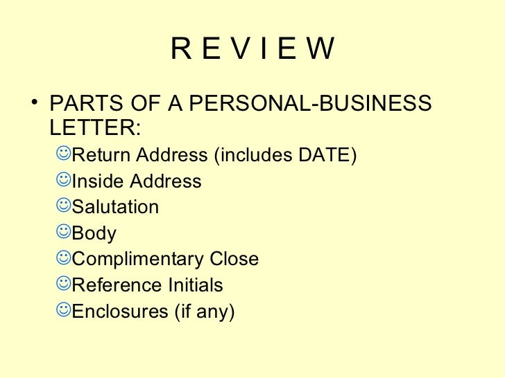Personal Business Letter Format World Of Example Inside Personal. Letters  Power Point Presentation