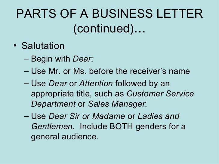 Business Letters Power Point Presentation – Parts of a Business Letter