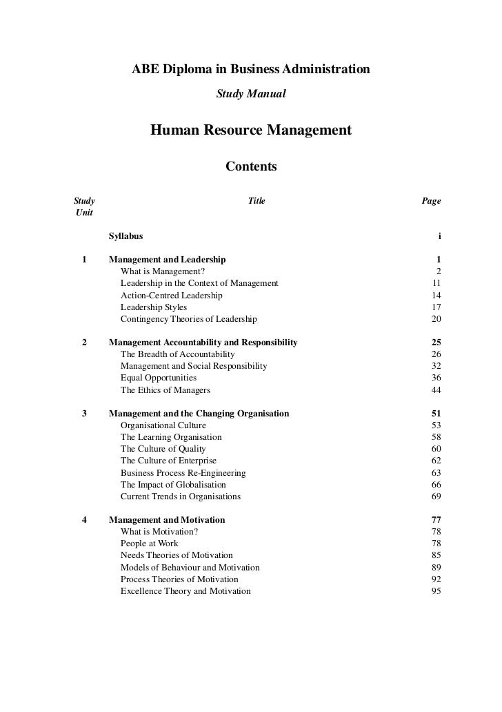 human resource management rh slideshare net Human Resources Manual Template human resource management abe study manual pdf