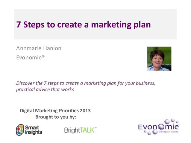 7 Steps to create a marketing planAnnmarie HanlonEvonomie®Discover the 7 steps to create a marketing plan for your busines...