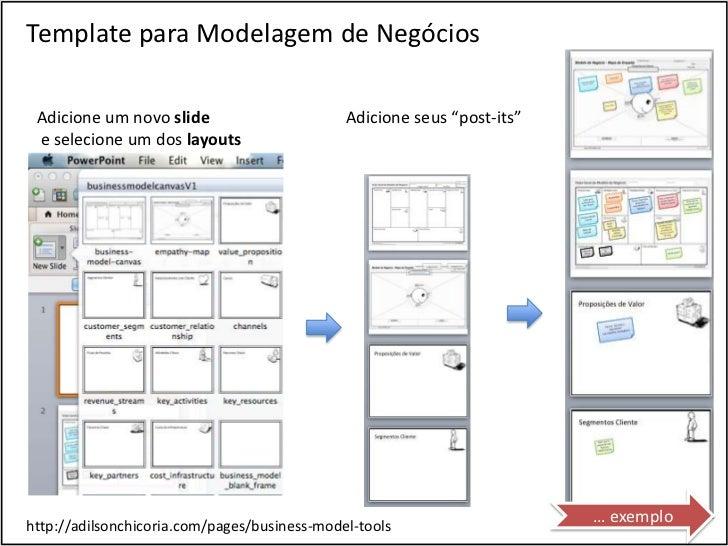 """Template para Modelagem de Negócios Adicione um novo slide                       Adicione seus """"post-its"""" e selecione um d..."""