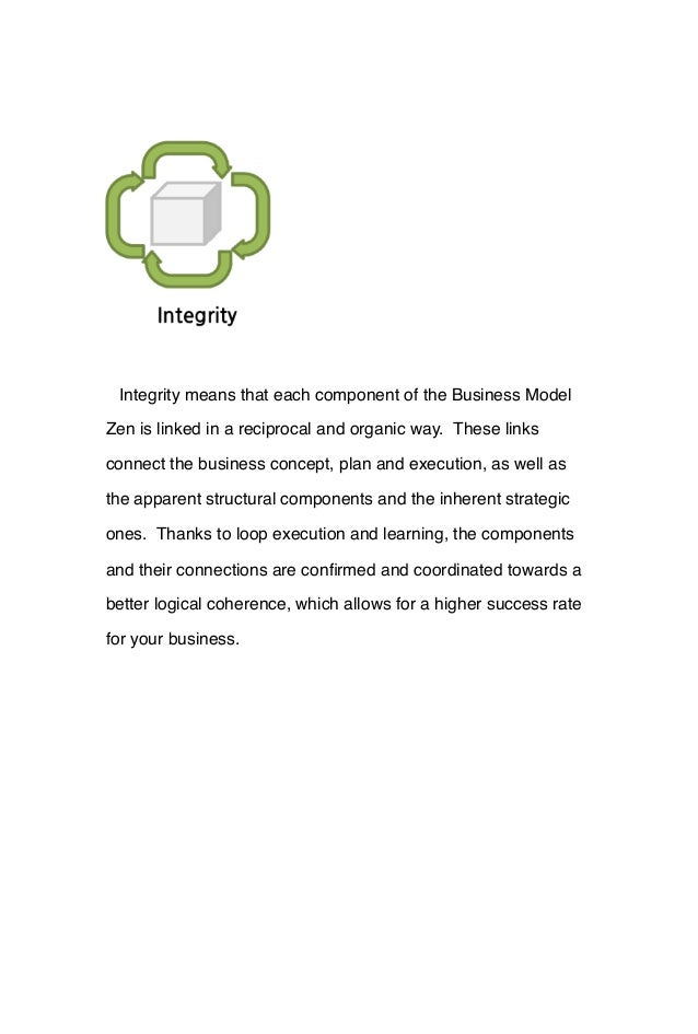 Integrity means that each component of the Business Model Zen is linked in a reciprocal and organic way. These links conne...