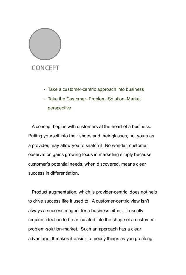 CONCEPT' - Take a customer-centric approach into business - Take the Customer–Problem–Solution–Market perspective A concep...