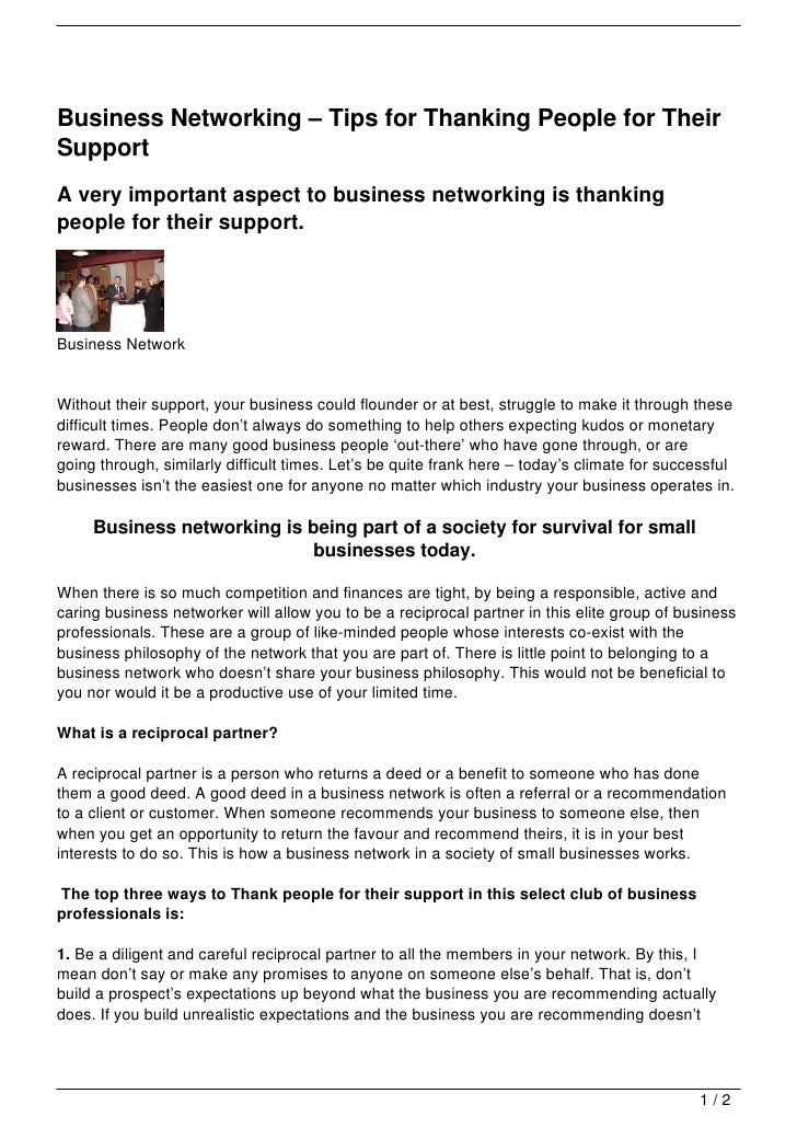 business networking 8211 tips for thanking people for their support