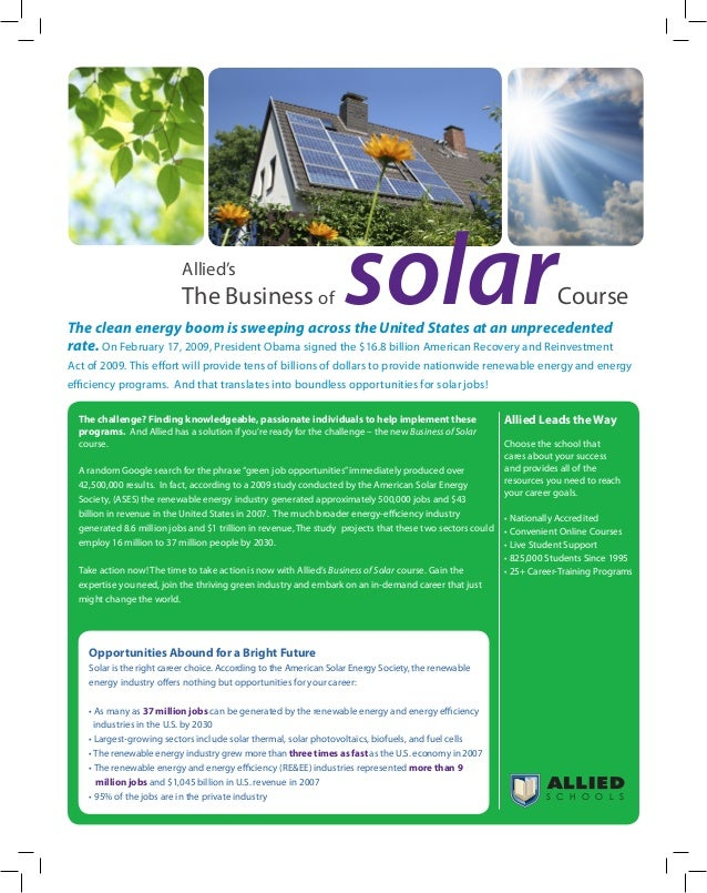 Business Of Solar Online Training Allied Schools
