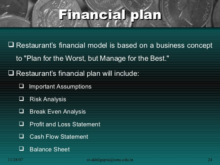 business plan financial projections assumptions of anova