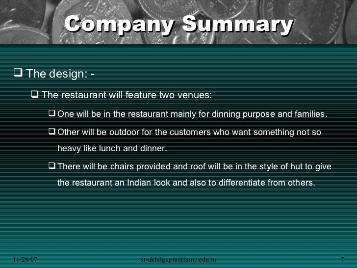 indian restaurant business plan