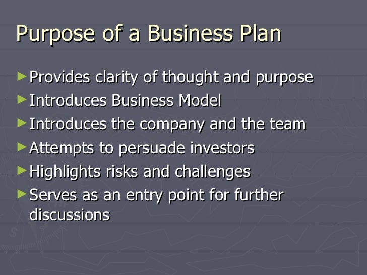 Purpose of the business plan example