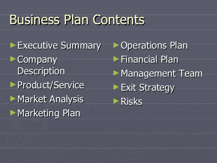 content of business plan ppt presentation