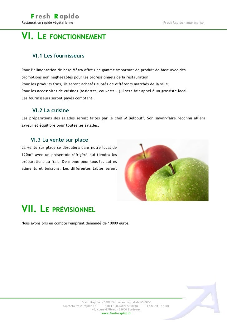 Business plan exemple freshrapido for Achat materiel restauration