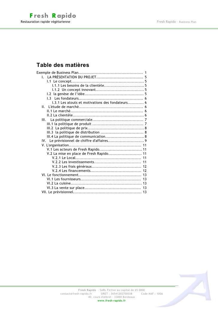 Business plan exemple freshrapido - Exemple table des matieres ...