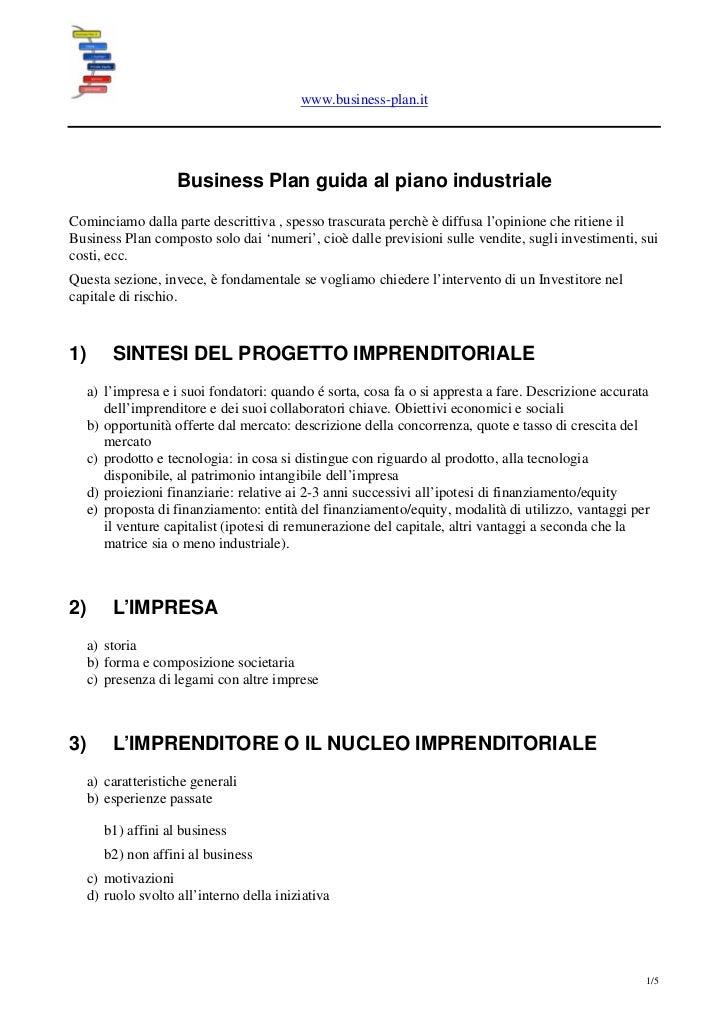 www.business-plan.it                        Business Plan guida al piano industriale Cominciamo dalla parte descrittiva , ...